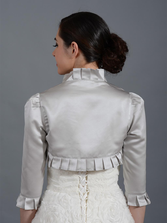 Silver 3 4 Sleeve Wedding Satin Bolero Jacket Satin008 Silver