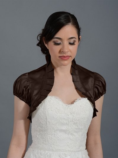 Brown sleeve wedding satin bolero jacket