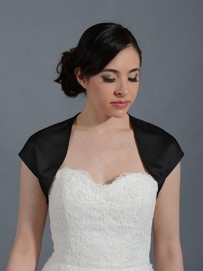 Black sleeveless satin bolero wedding jacket Satin007_Black