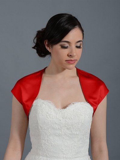 Red sleeveless wedding satin bolero jacket Satin007_Red