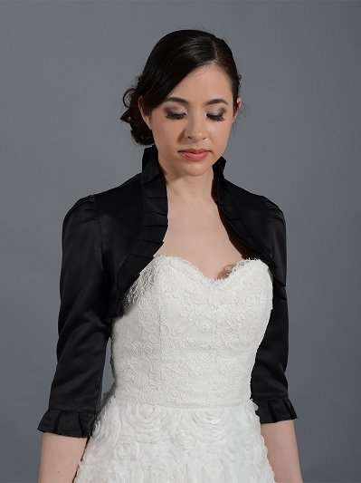 Black 3/4 sleeve satin wedding bolero jacket Satin008_b