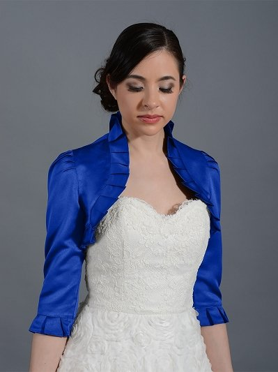 Blue 3/4 sleeve wedding satin bolero jacket Satin008_Blue