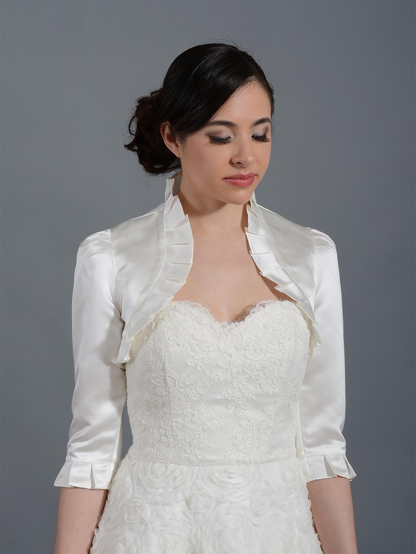 3 4 sleeve satin bolero wedding jacket for White bolero for wedding dress