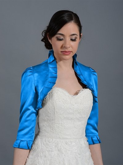 Bright Blue 3/4 sleeve satin wedding bolero jacket