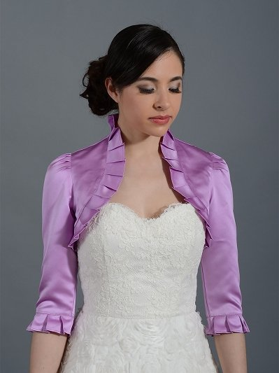 Radiant Orchid 3/4 sleeve wedding satin bolero jacket