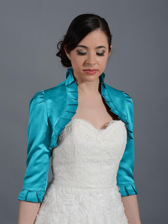 Teal 3/4 sleeve wedding satin bolero jacket Satin008_Teal