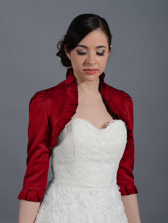 Wine Red 3 4 Sleeve Wedding Satin Bolero Jacket