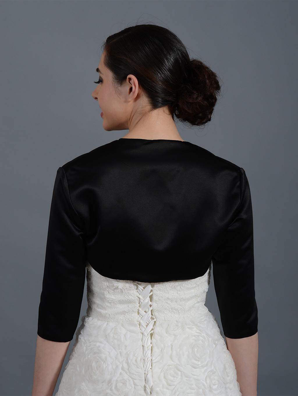 Black 3 4 Sleeve Wedding Satin Bolero Jacket Satin009 Black