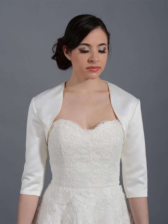 3 4 sleeve wedding satin bolero jacket satin009 for White bolero for wedding dress