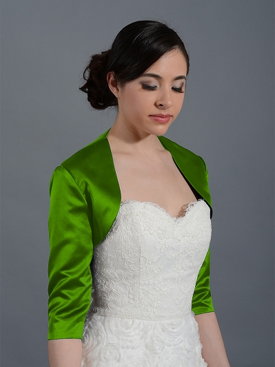 Moss Green 3/4 sleeve wedding satin bolero jacket Satin009_MossGreen