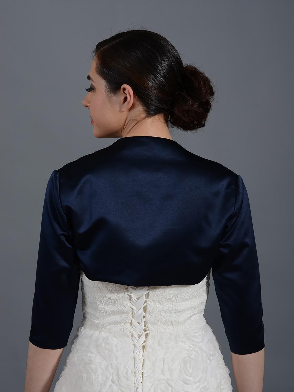 navy blue 3 4 sleeve wedding satin bolero jacket satin009 navyblue. Black Bedroom Furniture Sets. Home Design Ideas