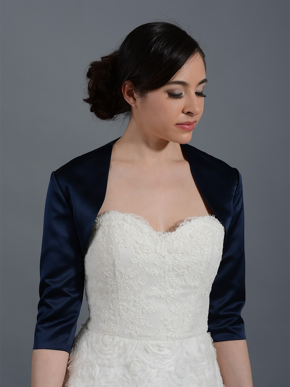 Navy Blue 34 Sleeve Wedding Satin Bolero Jacket Satin009