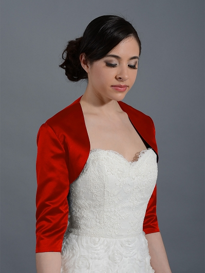 Red 3/4 sleeve wedding satin bolero jacket Satin009_Red