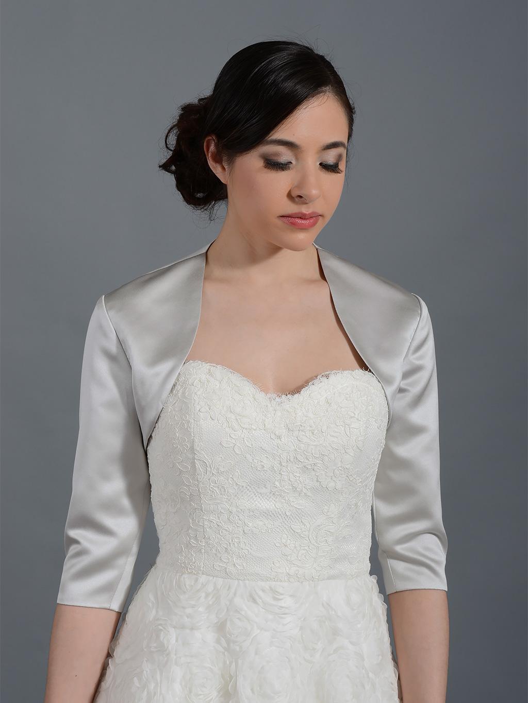 silver 3 4 sleeve wedding satin bolero jacket satin009 silver. Black Bedroom Furniture Sets. Home Design Ideas