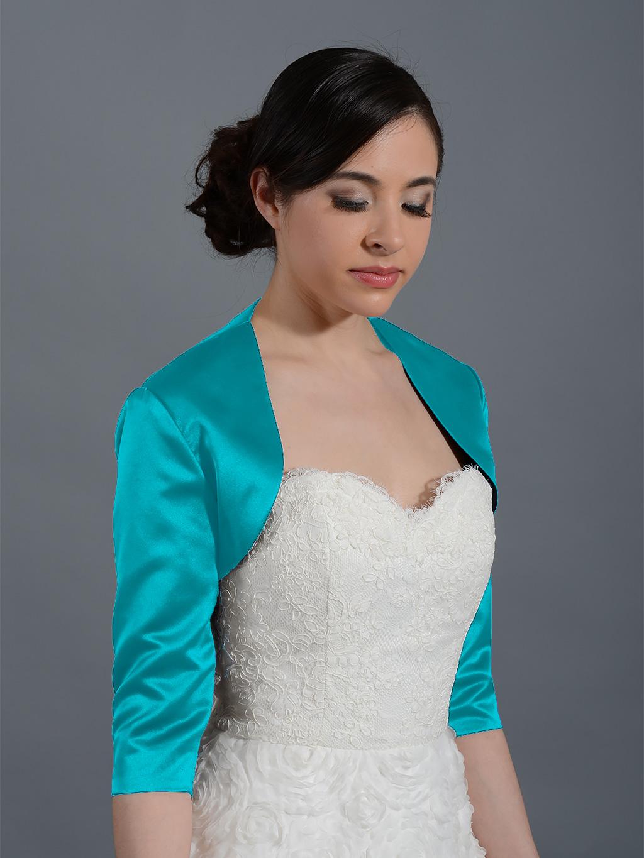 Teal 3/4 sleeve wedding satin bolero jacket Satin009_Teal