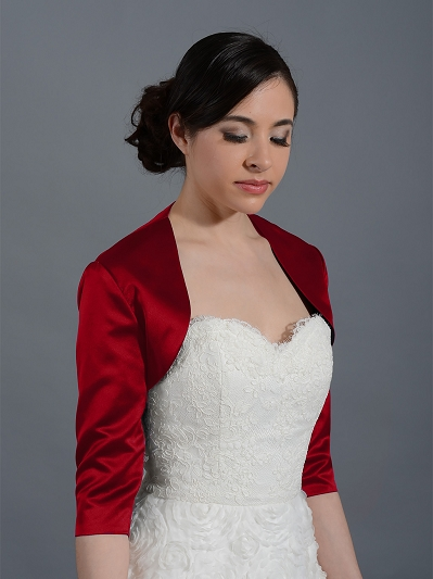 Wine Red 3/4 sleeve wedding satin bolero jacket Satin009_WineRed