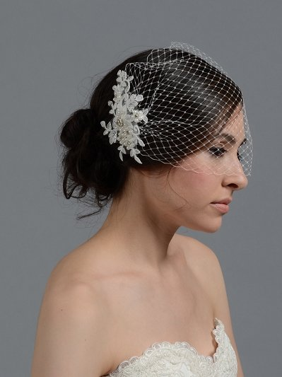 Ivory blusher birdcage veil with alencon lace BVF010
