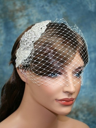 Bandeau style ivory birdcage veil with rhinestone hair comb - bbvr002