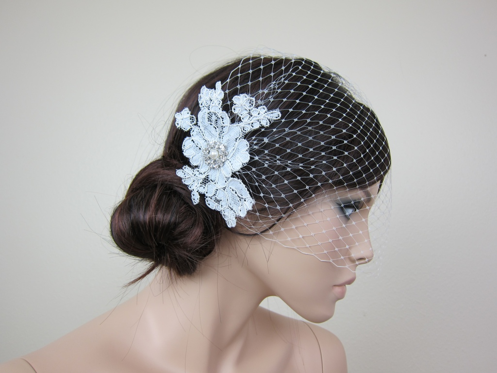 Ivory Blusher Birdcage Veil With Alencon Lace BVF009n