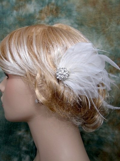 Ivory blusher birdcage veil fascinator / hair flower BVF003