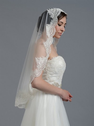 Mantilla bridal wedding veil elbow/fingertip V030