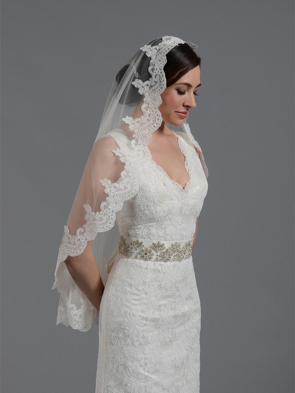 Bridal Mantilla veil elbow/fingertip/chapel V032n ivory/white