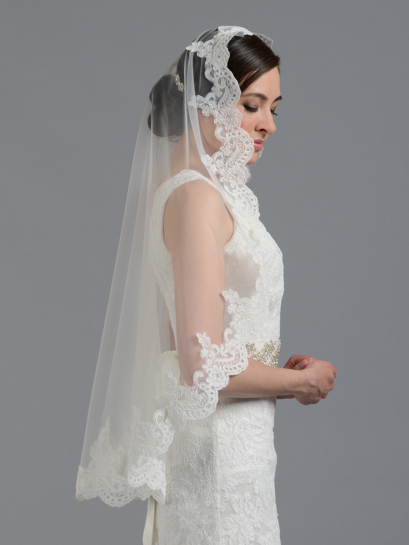 White Fur Stole >> Bridal Mantilla veil elbow/fingertip/chapel V032n ivory/white