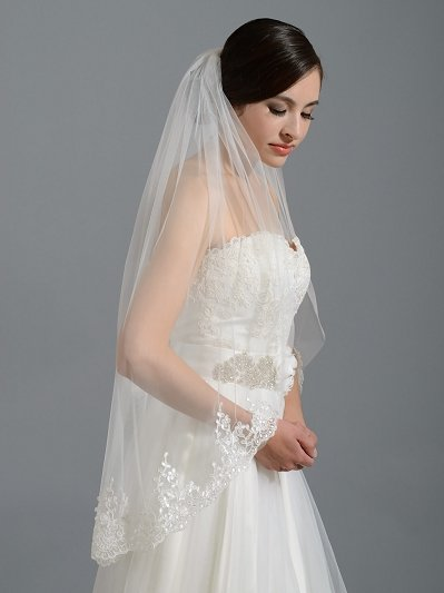 Ivory elbow alencon lace wedding veil V037n