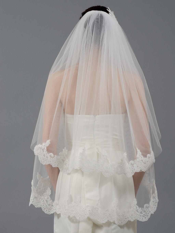 2 Tier Ivory Elbow Alencon Lace Wedding Veil V041