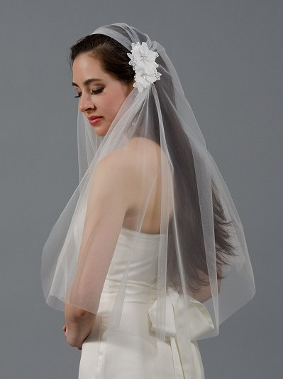 Ivory juliet cap wedding veil V047