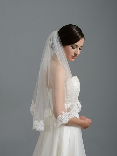 Ivory short elbow alencon lace wedding veil V050