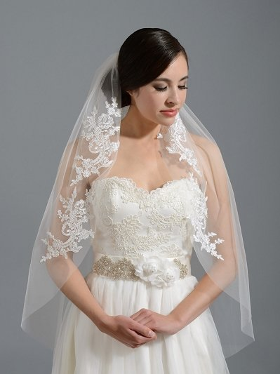 Ivory elbow wedding veil V051n alencon lace