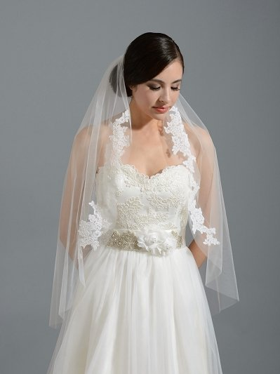 Ivory elbow wedding veil V052n alencon lace