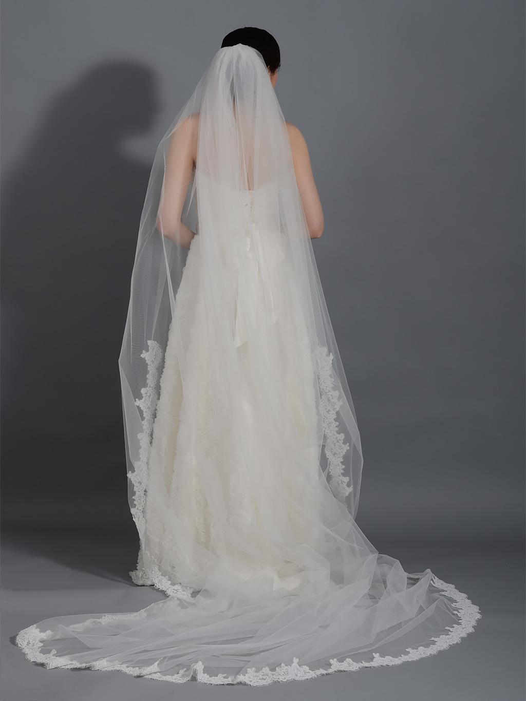 Ivory Wedding Veil Cathedral Length V043c