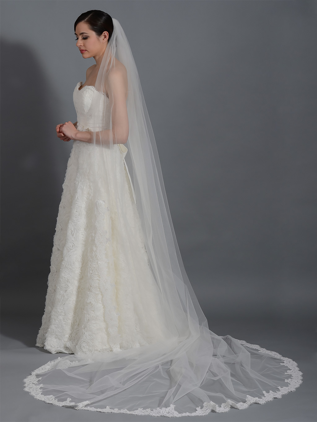 Ivory Wedding Veil Cathedral Length V043c