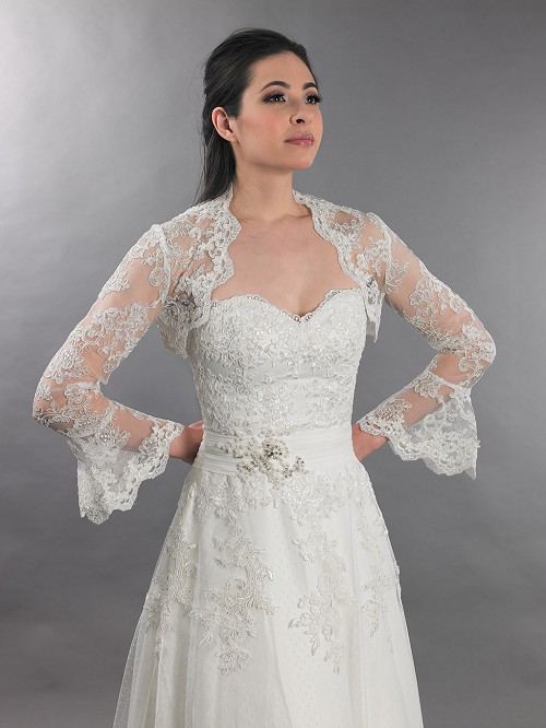 Ivory long bell sleeve bridal re embroidered lace bolero for Ivory lace wedding dress with sleeves