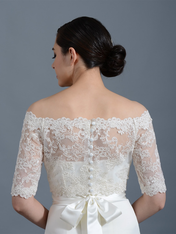 Off shoulder wedding jacket lace bolero wj003 for Lace jackets for wedding dresses