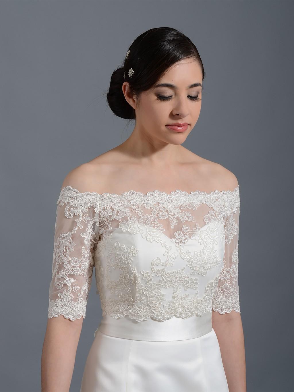 off shoulder wedding jacket lace bolero WJ003