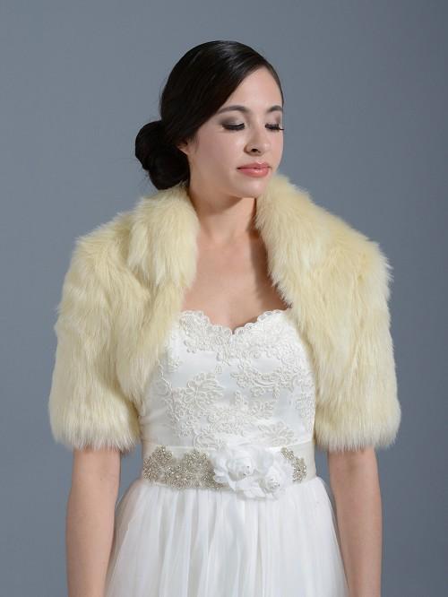 Champagne Elbow Length Sleeve Faux Fur Bolero Jacket Shrug