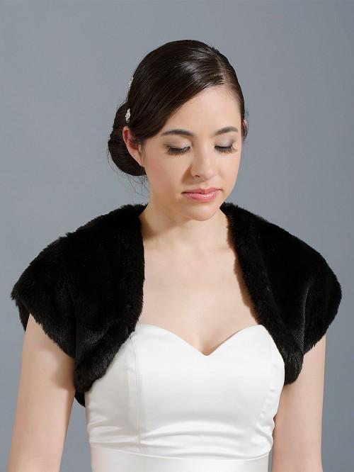 Black Faux Fur Bridal Shrug Bolero Wrap Fs001