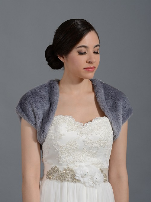 Silver Gray faux fur bridal shrug bolero wrap FS001_Silver