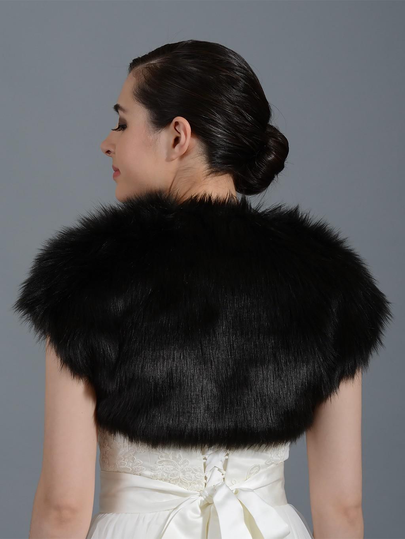 Black Faux Fur Shrug Bolero Wrap Fs004 Black