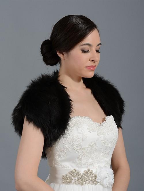 Black Faux Fur Shrug Bolero Wrap Fs004