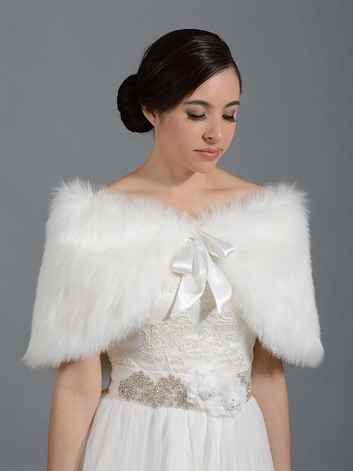 Faux fur wrap bridal shrug stole shawl cape c002 for Fur shrug for wedding dress