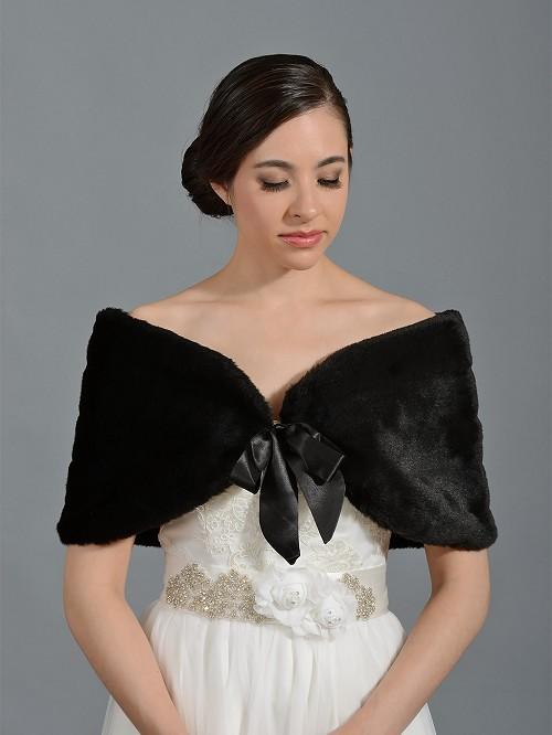 Black Faux Fur Wrap Bridal Shrug Stole Shawl Cape