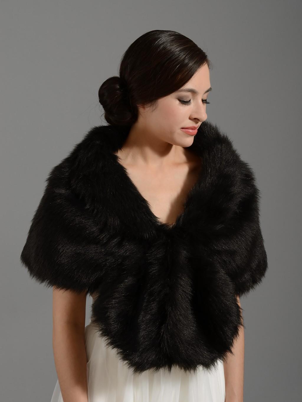 Black faux fur wrap bridal shrug stole shawl for Fur shrug for wedding dress