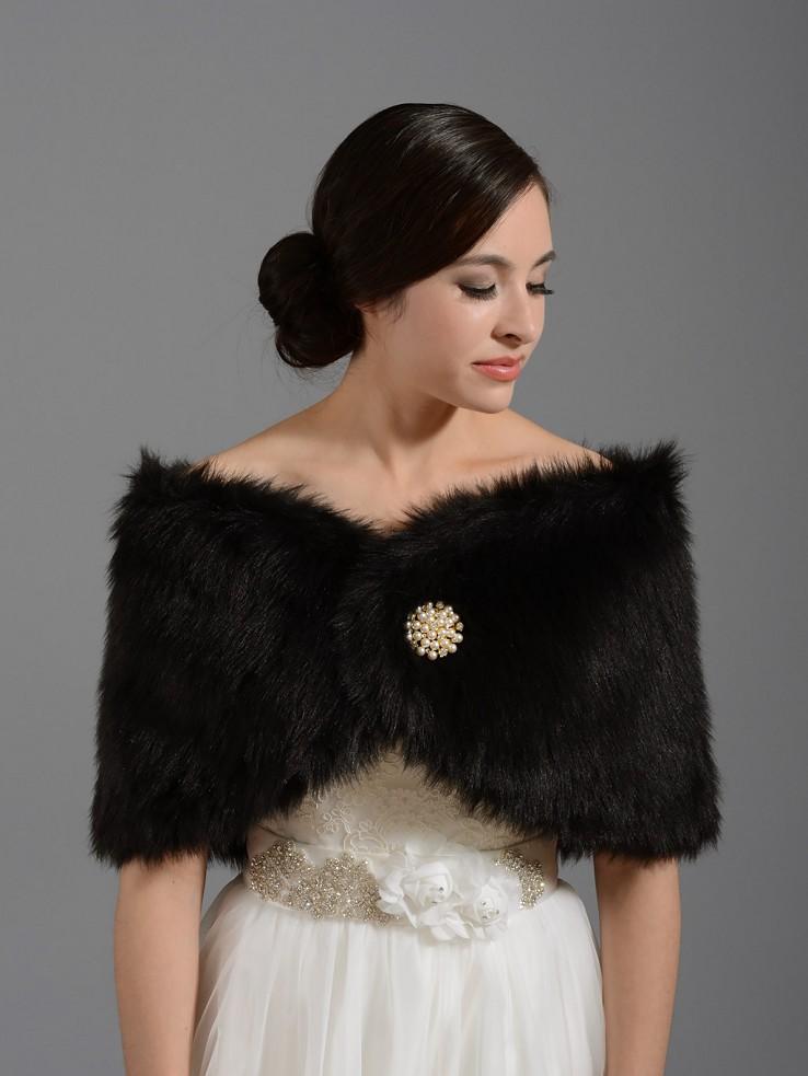 Black Faux Fur Wrap Bridal Shrug Stole Shawl Fw005 Black W