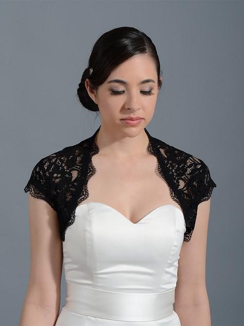 Black cap sleeve bridal lace bolero jacket lace 041black for Black lace jacket for wedding dress