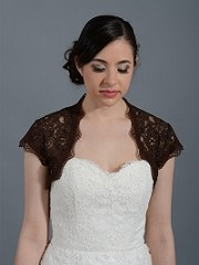 Brown cap sleeve bridal lace bolero jacket Lace_041_Brown