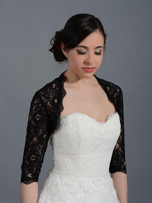 Black 3 4 sleeve bridal corded lace wedding bolero jacket for Black lace jacket for wedding dress